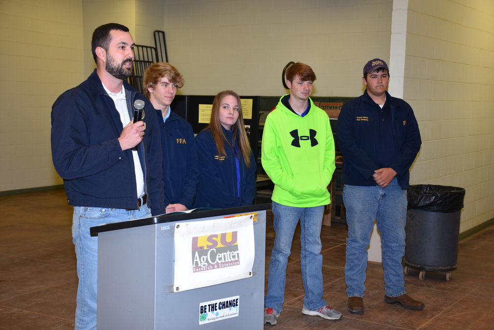 Aaron Beaubouef, adviser for the Natchitoches Central FFA chapter, introduced his team at the annual Louisiana Forage and Grassland Council meeting in Alexandria on Dec. 2. The team placed first overall in the National FFA Agronomy competition held at the 89th National FFA Convention Oct. 19-22 in Indianapolis, Indiana. Team members included, Bradley Scott, Brooklyn Hampton, Dylan Daniels, and Preston Tibbett. (Photo by Johnny Morgan, LSU AgCenter)