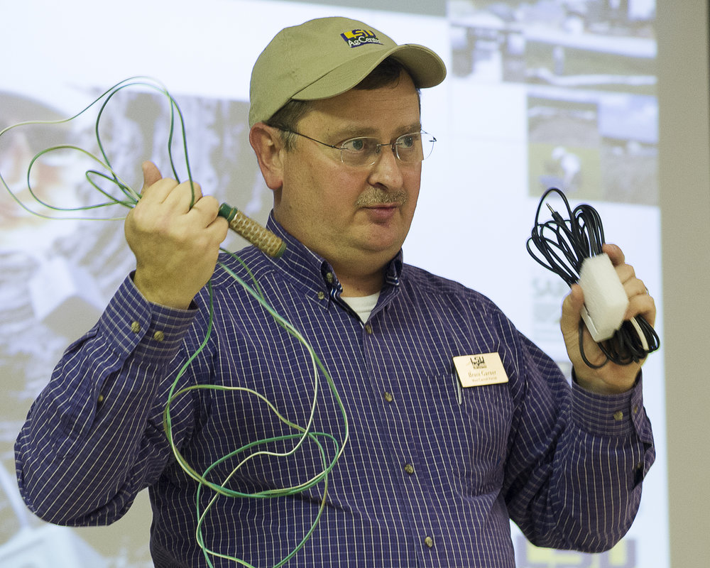 Bruce Garner, LSU AgCenter agent in West Carroll Parish, discusses two types of soil moisture sensors during a sustainable irrigation workshop held Jan. 17 at the LSU AgCenter Red River Research Station in Bossier City. Photo by Olivia McClure/LSU AgCenter
