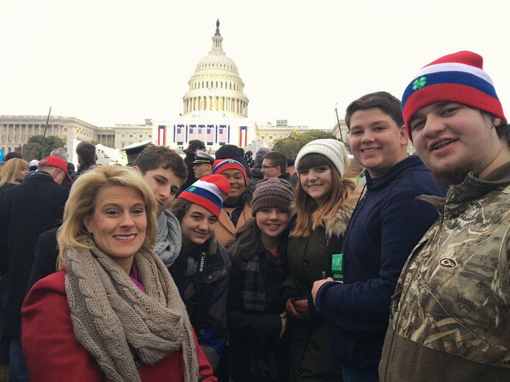 Louisiana 4-H representatives to the 2017 Citizenship Washington Focus: Presidential Inauguration event in Washington D. C. attending the presidential inauguration were, from left, Joey LeBlanc, Iberville Parish, chaperone; Clayton LeBlanc, Iberville Parish; Jessica Jarred, Vermilion Parish; Samyra Miller, Orleans Parish; Bailey Willis, Morehouse Parish; Samantha Taylor, Winn Parish; Garrett Sanders, Tangipahoa Parish; and Mason Kemp, Caddo Parish. Photo provided by Joey LeBlanc