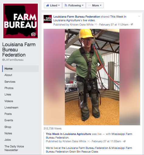 Louisiana farmer Landon White prepares to be sunk into a grain bin rescue simulator. The Facebook Live video of the event has gone viral, with over 316,000 views as of Thursday night.