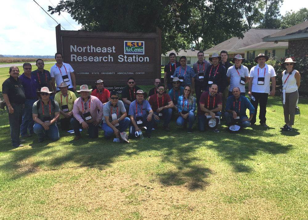 A group of about 30 agricultural producers from Brazil toured the LSU AgCenter Northeast Research Station in St. Joseph to learn more about southern agricultural productions systems in the Louisiana Delta. The tour was sponsored by DuPont-Brazil. Photo by Karol Osborne/LSU AgCenter