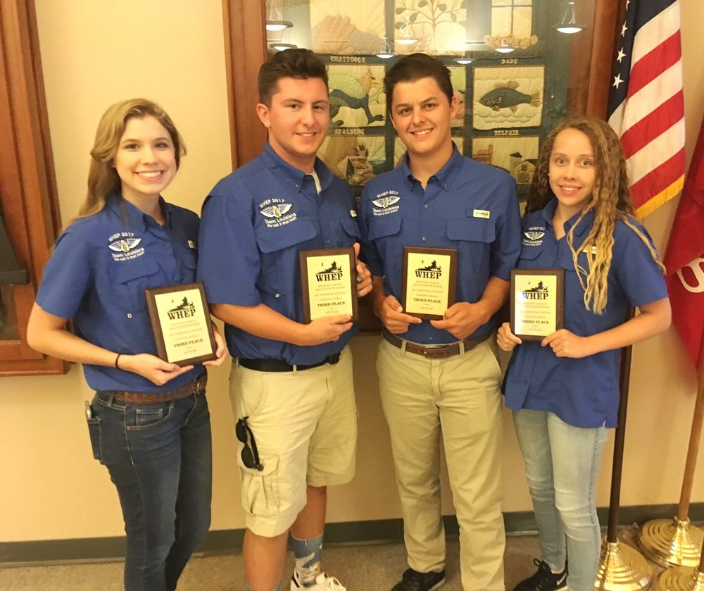Members of the Louisiana 4-H wildlife team won third place at the National Wildlife Habitat Evaluation Program contest held in Eatonton, Georgia, July 30 to Aug. 2.Team members included Haley Farmer, of Sabine Parish, who placed 14th at the contest; Thomas Bergeron and Paycen Brouillette, of West Feliciana Parish, who placed eighth and 11th respectively; and Bridget Seghers, of St. Tammany Parish, who placed second in the nation as the high score individual. (Photo by Don Reed)