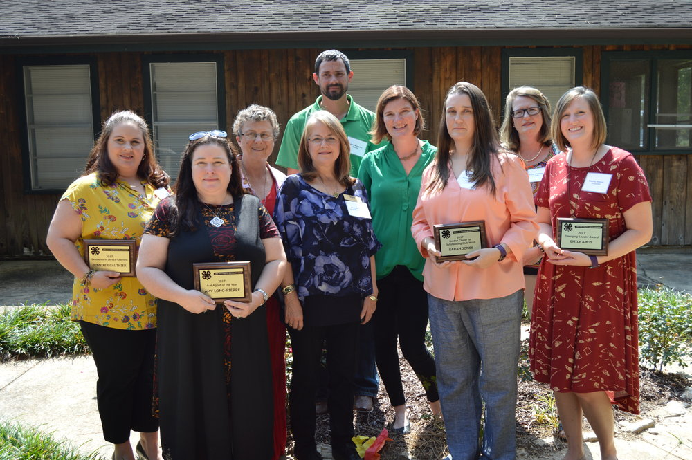 The Louisiana 4-H Volunteer Leaders Association honored members with service and achievement awards at the annual meeting held Sept. 8-9 in Woodworth. From left, Jennifer Gauthier, Avoyelles Parish; Amy Long-Pierre, LSU AgCenter extension agent, St. Tammany Parish; Debra Thrower, Lafayette Parish; Jaye Guerin, West Baton Rouge Parish; Lane Romero, Iberia Parish; Veronica Del Bianco, LSU AgCenter volunteer leadership and development specialist; Sarah Jones, Sabine Parish; Diane Walters, Franklin Parish; and Emily Amos, Franklin Parish.