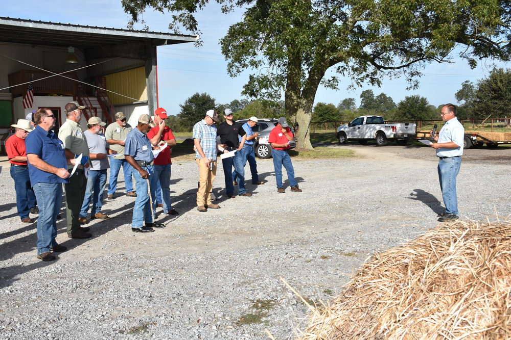 LSU AgCenter agent Stuart Gauthier discussed hay combustion and the importance of drying hay properly before storing it at the Acadiana Cattle Producers Fall Field Day held at the UL-Lafayette Cade Farm in St. Martinville on Oct. 21, 2017. Photo by Johnny Morgan/LSU AgCenter