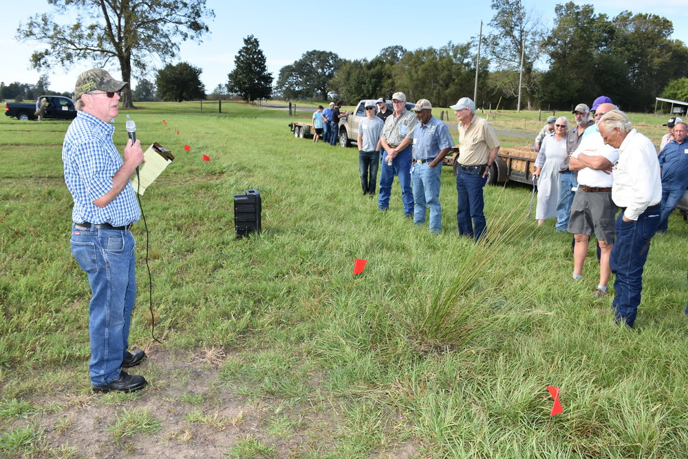 LSU AgCenter forage specialist Ed Twidwell discussed bermudagrass planting methods, bulrush control and winter weed control strategies at the Acadiana Cattle Producers Fall Field Day held at the UL-Lafayette Cade Farm in St. Martinville on Oct. 21, 2017. Photo by Johnny Morgan/LSU AgCenter