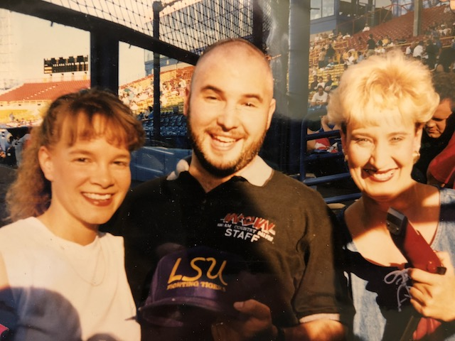 My LSU tigers won the 1996 College World Series with Warren Morris' infamous bottom-of-the-ninth home run. the following week i followed through on my promise to let a wow listener shave my head on home plate in rosenblatt stadium. the shaving was broadcast live on wow.