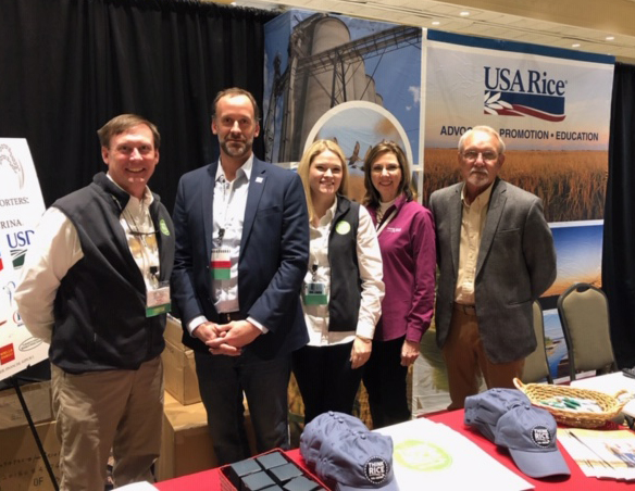 Manning the USA Rice booth, from left: Kane Webb, Josh Hankins, Lydia Holmes, Mary Jemison, and Steve Linscombe