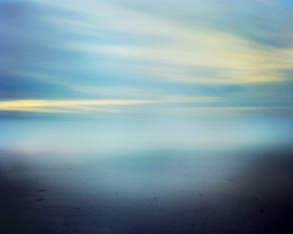 "#21 (10 hrs, Rockaway Beach), 2017.  10-hour large format pinhole exposure. 17""H x 21""W Digital archival pigment print on Hahnemühle Ultra Smooth 305 archival paper."