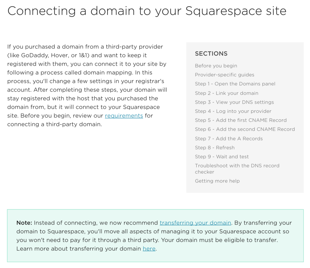 Click here to access Squarespace's full step-by-step process.