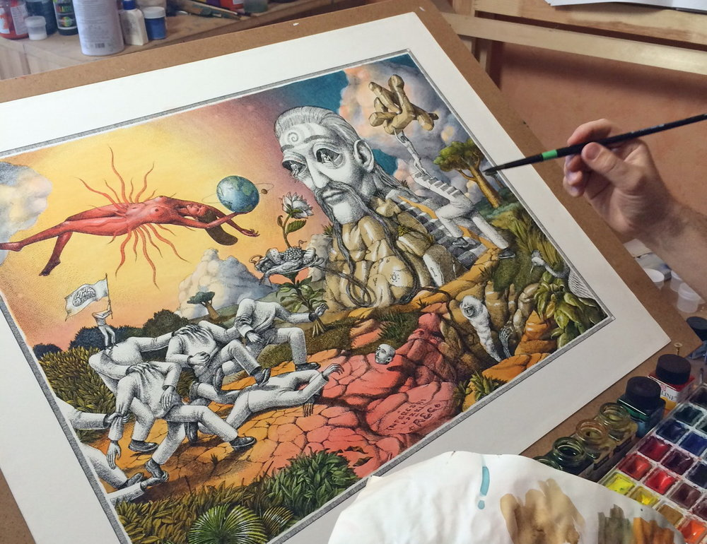 Photo of the artist individually painting each print, courtesy of  AEC Interesni Kazki .