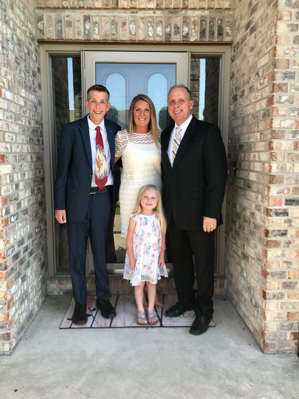Bickett Family 2017 From Left to Right Jacob (JB) Bickett, Kristen Bickett, Christopher Bickett. Stella Bickett