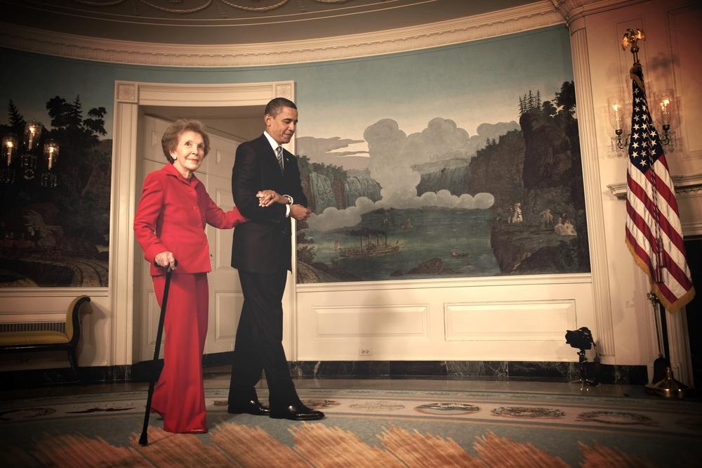 Nancy Reagan with President Barack Obama in 2009. [Source]
