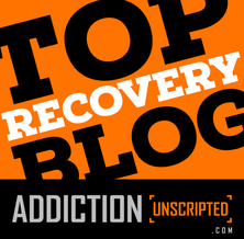 Addiction Unscripted Top Recovery Blog Badge