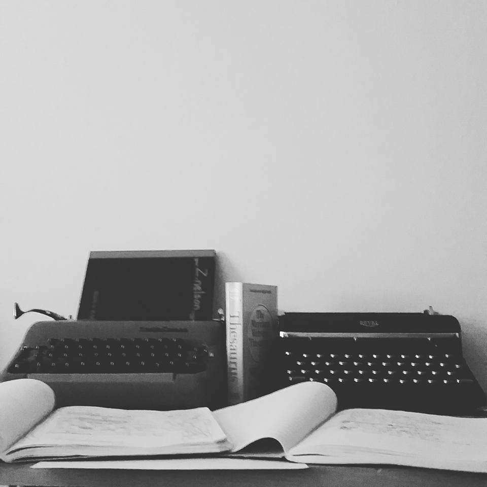 B/W Typewriters and notebooks. Photo by Zach Nelson, Poet from South Dakota