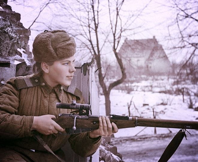 Vintage photo in public domain of female soldier.