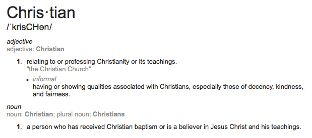 Etymology of words (Christian via Google) and the meaning it connotes for personal change.