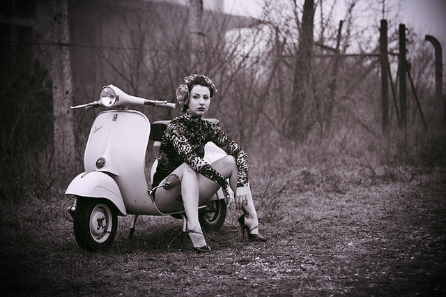 Vintage Photo (cc0) of angry woman with Vespa.