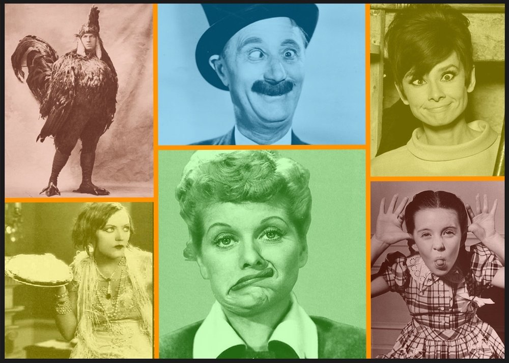 Images in the Public Domain. From Top Left, Clockwise: Vintage Halloween Costume (Unknown), Ben Turpin (ca. 1930s), Audrey Hepburn (1957), Margaret O'Brien (ca. 1946-47), Lucille Ball (ca. late 50s), Marion Davies (Silent-Film Star from teens and 1920s).