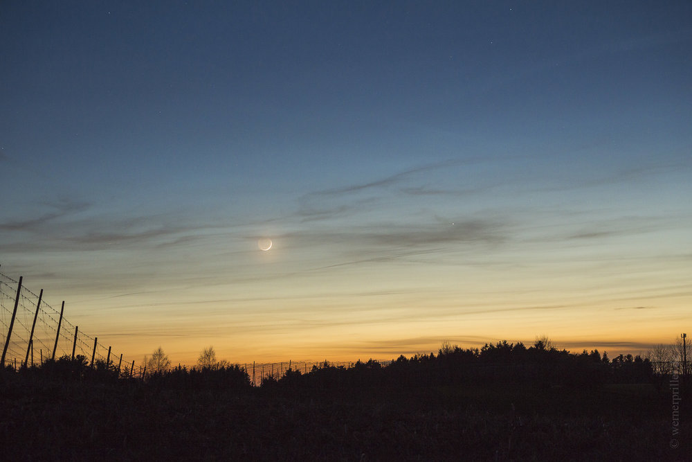Mondsichel und Merkur über den Hopfengärten der Hallertau