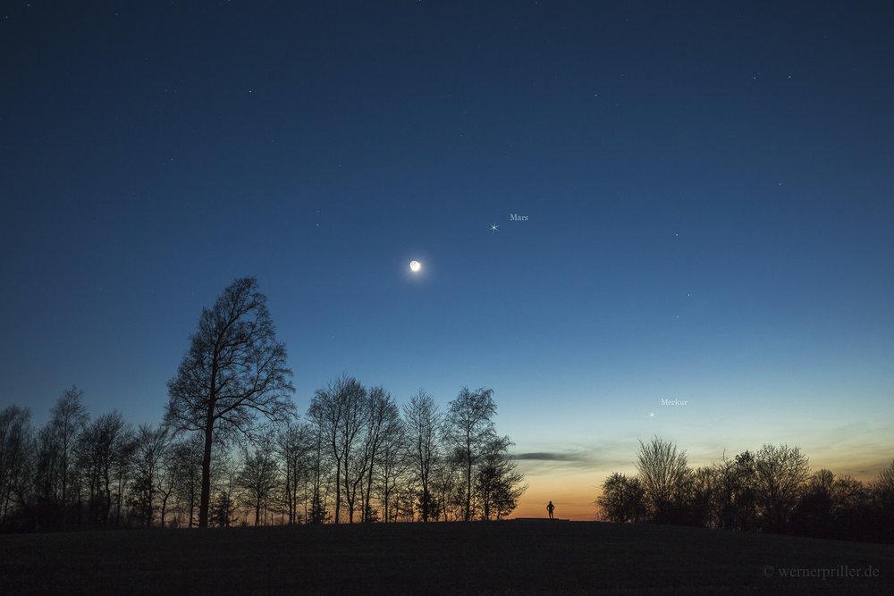 Mars und Merkus bei der Mondsichel, 30.03.2017