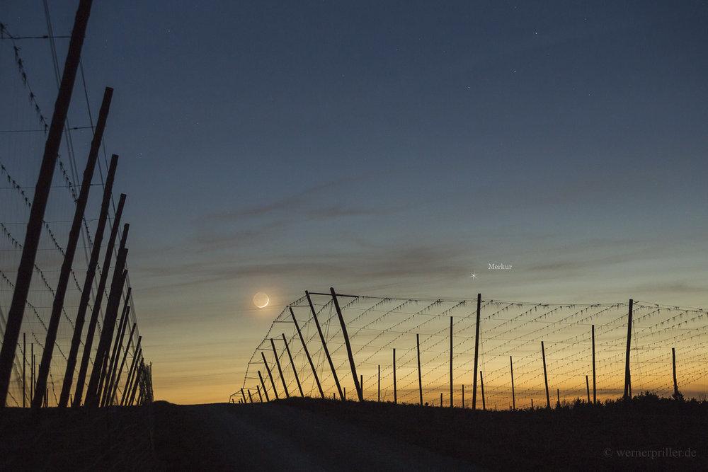 Merkur bei der Mondsichel, 29.03.2017