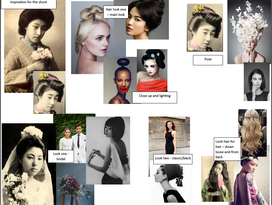 One of the mood boards created for the shoot. Considering two different looks one classic black and one 'bridal'.