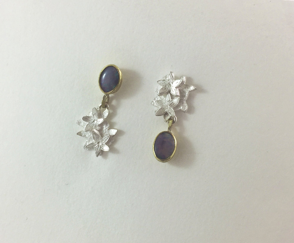 Silver, Gold & black opal $460
