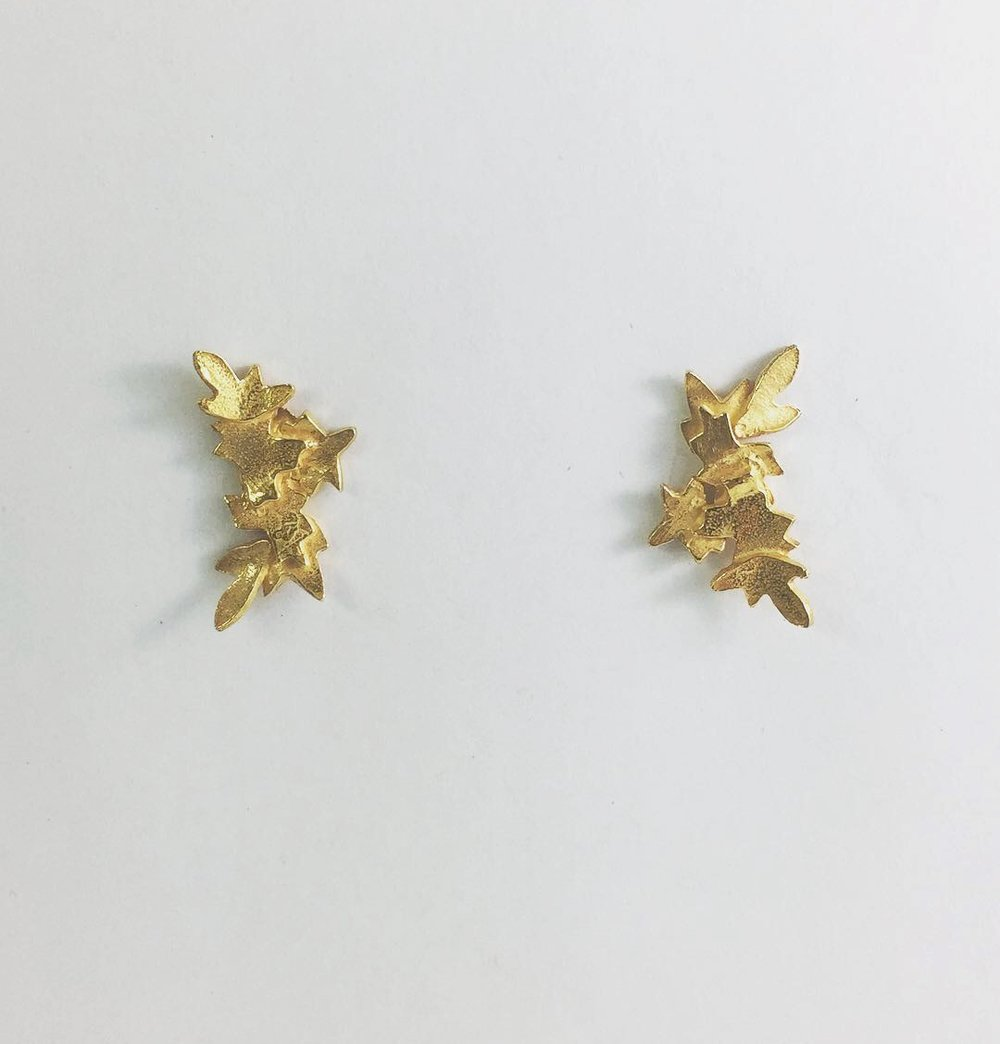 Gold plate Blossom studs $145