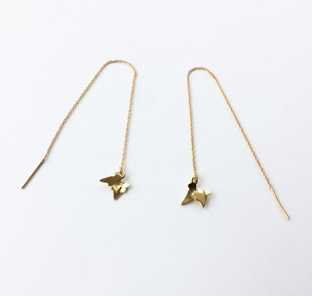 Gold plate Ivy threaders $120
