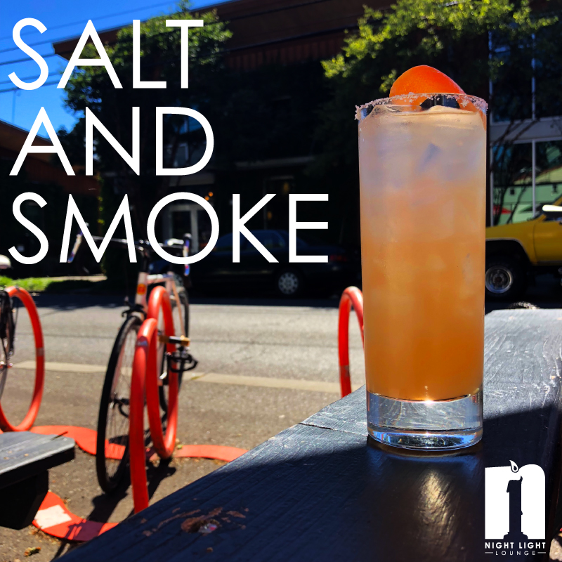 Salt and smoke  Sauza Hornitos, New Deal Ginger Liqueur, grapefruit juice, soda, Union Mezcal float, and salted rim, served on the rocks