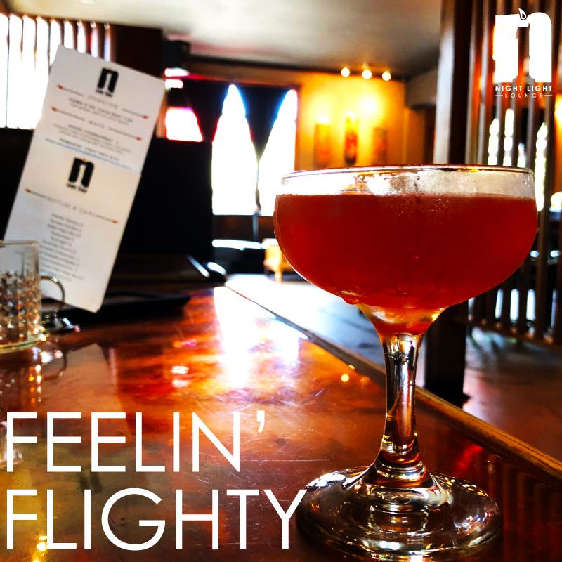 Feelin' Flighty  Burnside Rye, Aperol, Amaro, and lemon, served up
