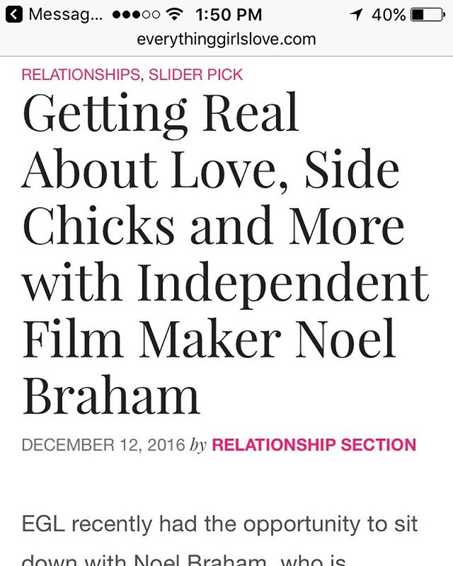 Read @write_her story on the series on @everythinggl with @noel_braham #thesidechicktv #noelbrahamentertainment #thesidechick #sidechick