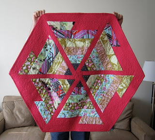 Online challenge quilt using surprise fabrics and original pattern.