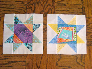 Scrappy star blocks for a virtual quilting bee.