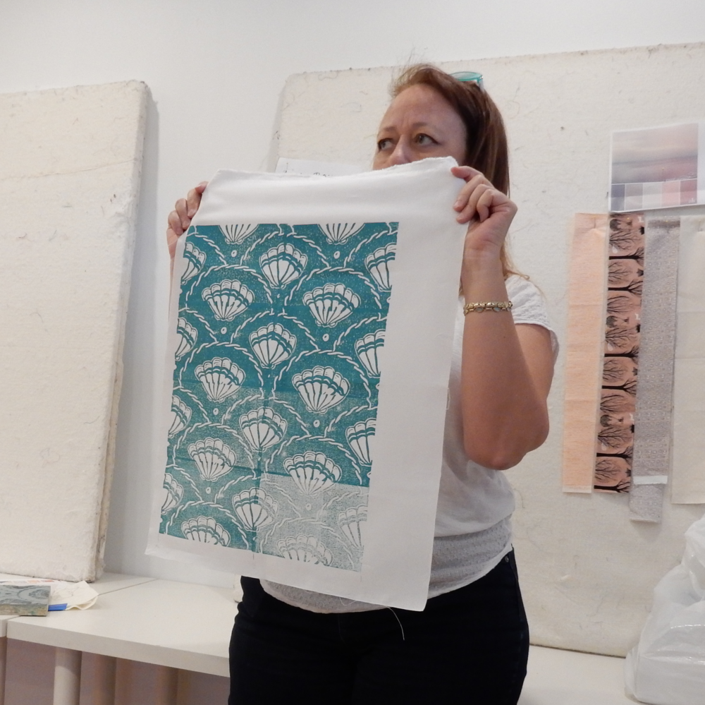 Debby showed a sample of fabric she'd printed at a workshop at IS Designs.