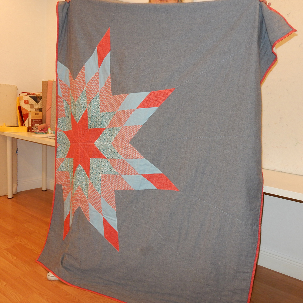 Allison showed her lone star quilt, which was a great example of a modern quilt with expansive negative space.