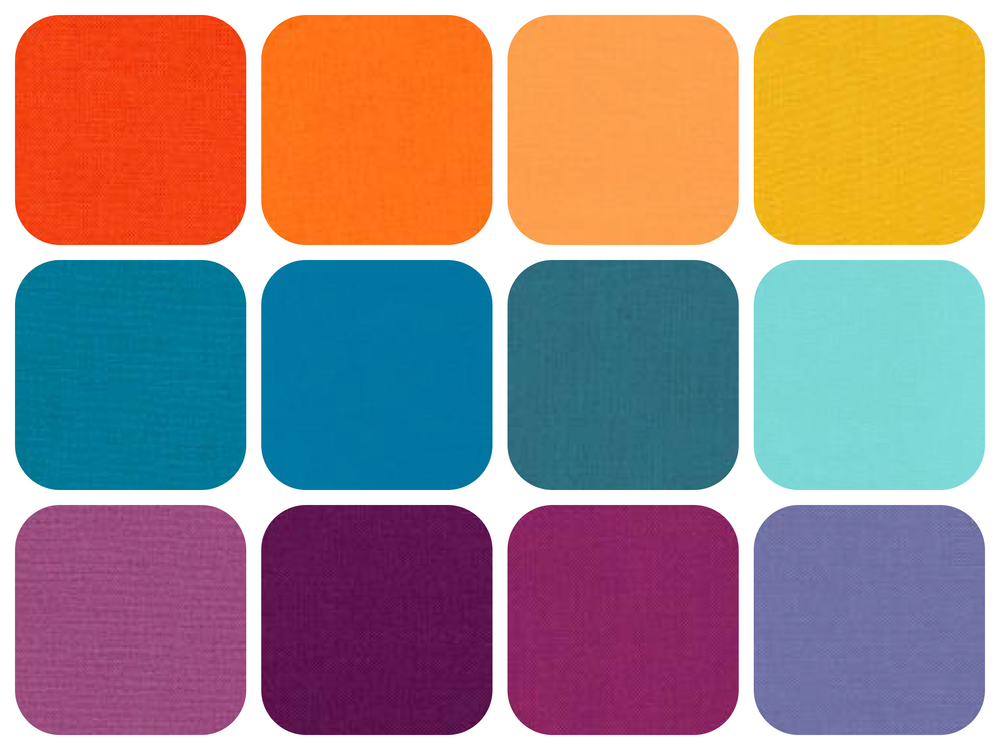 Our color palette includes orange/yellow, blue/violet and blue/green.