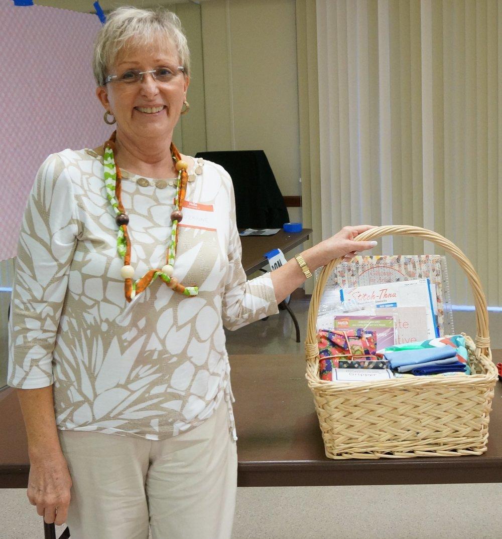 Sewtastic Basket raffle winner Suzanne McGee
