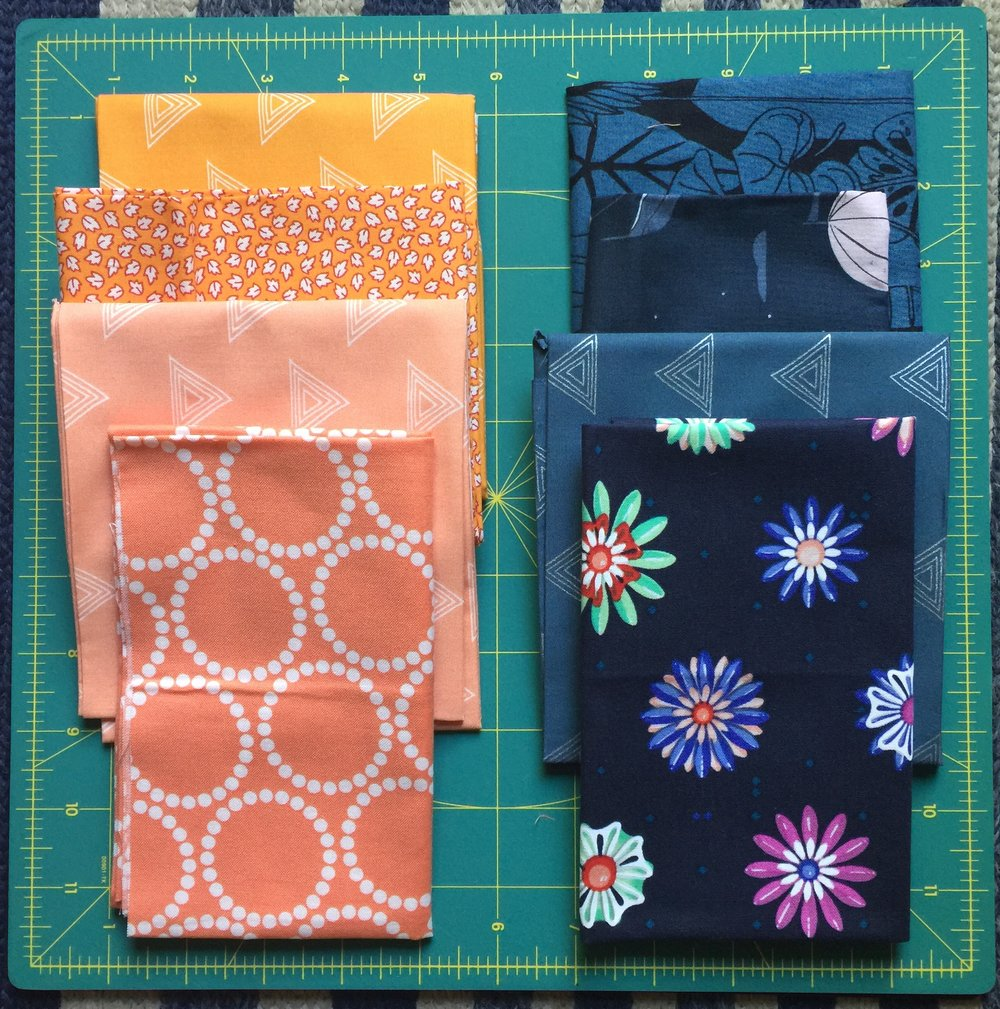 Two examples of fabric pulls for colorful prints/solids.