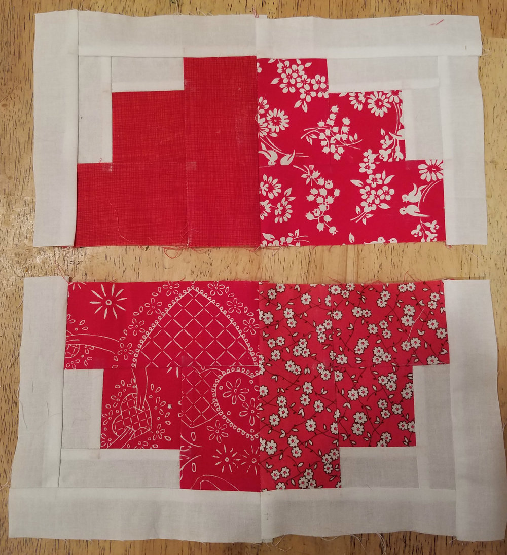 Pin 2 blocks together and sew. Repeat for other side.