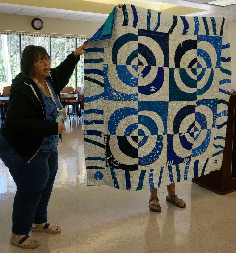 Patti Auten and her quilt which has been juried into World Quilt Florida in Orlando in January.