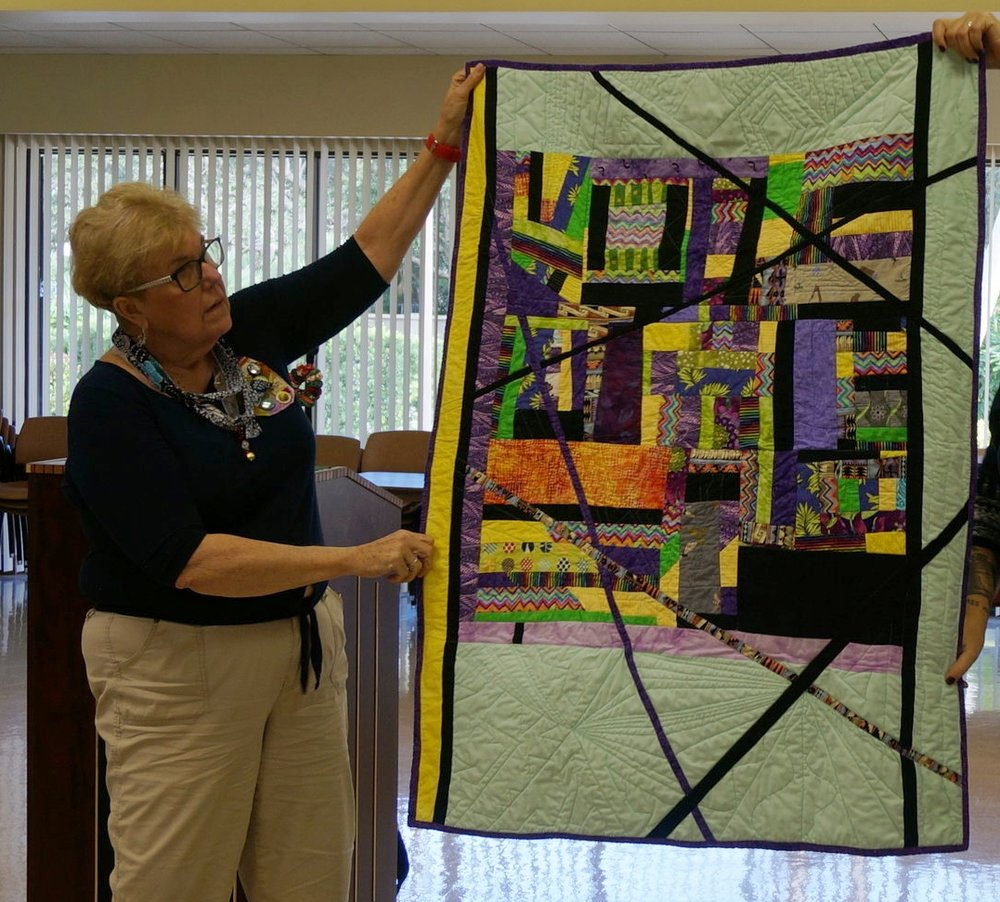 Diane Moss completed her wonderful improv QAL quilt