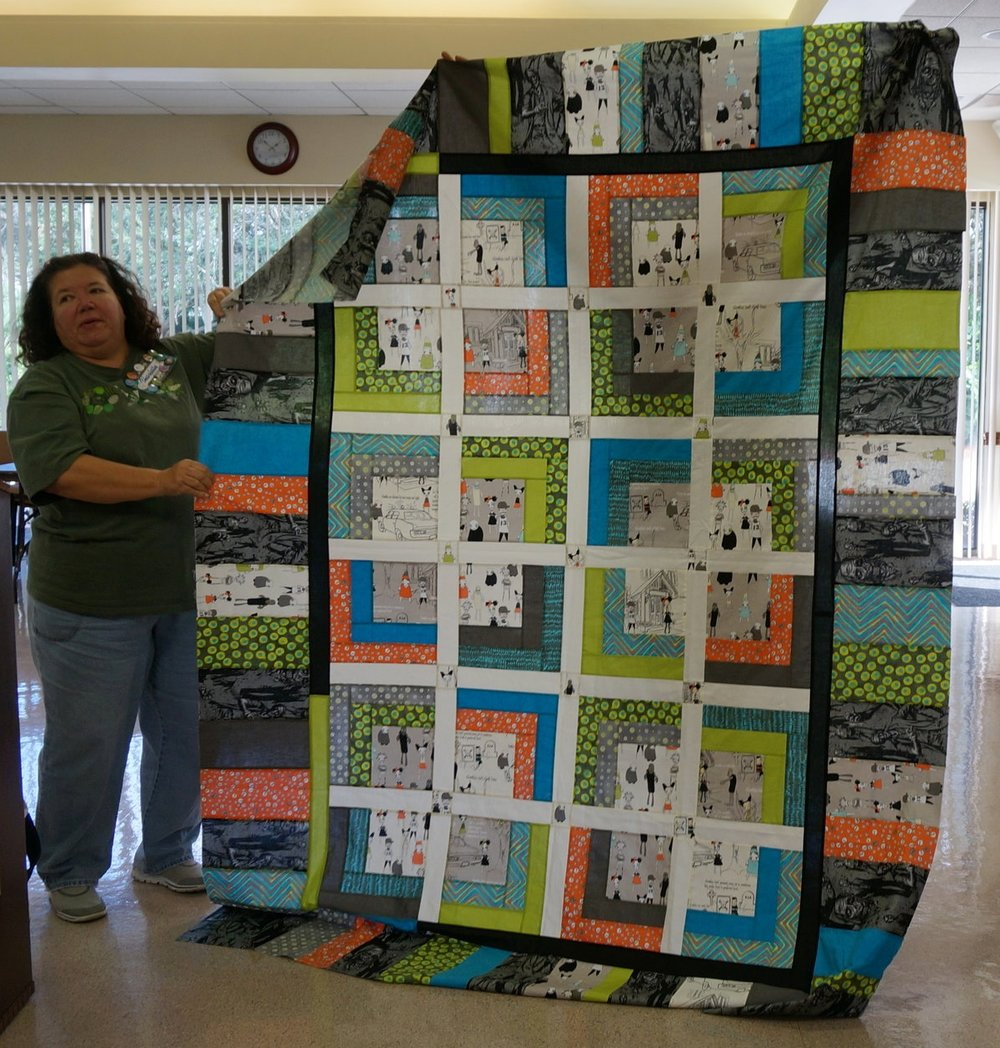 Charlotte Noll made a zombie quilt as a gift