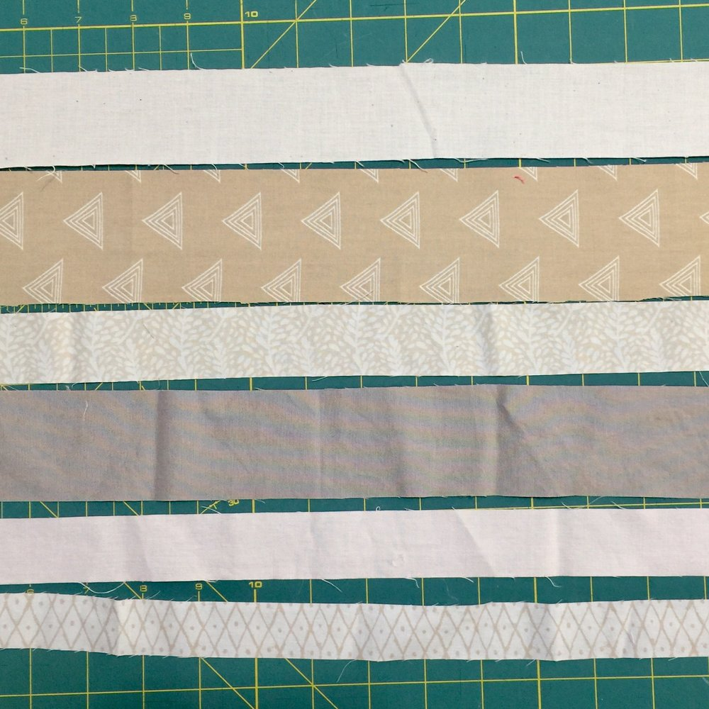 Gather strips of various sizes.