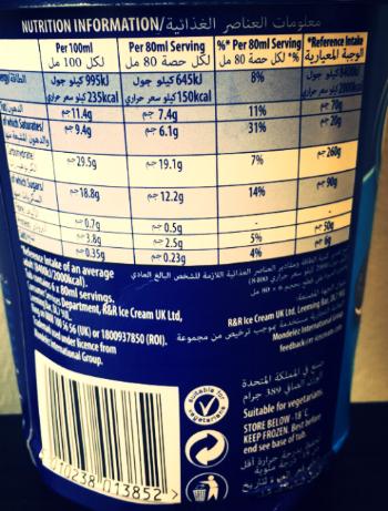 Oreo ice cream calorie information