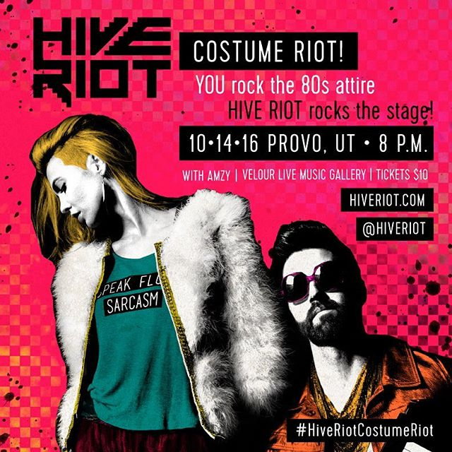 We are elated to announce our first ever 80's costume party/concert! YOU rock the 80's attire. HIVE RIOT rocks the stage! Featuring our new friends from Denver, @amzymusic! All just in time for the Halloween season. Prizes! Treats! Facepaints! Friday, October 14th // Provo, UT // Velour Live Music Gallery // 8 p.m. // Tickets $10 at 24tix.com // Grab a date and get tix now! 👯👫👭👬👾👾 #HiveRiotCostumeRiot @velourlive