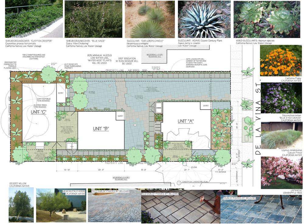 Conceptual Landscape Plan: 1623 De La Vina, Craftsman Bungalows, Santa Barbara, CA