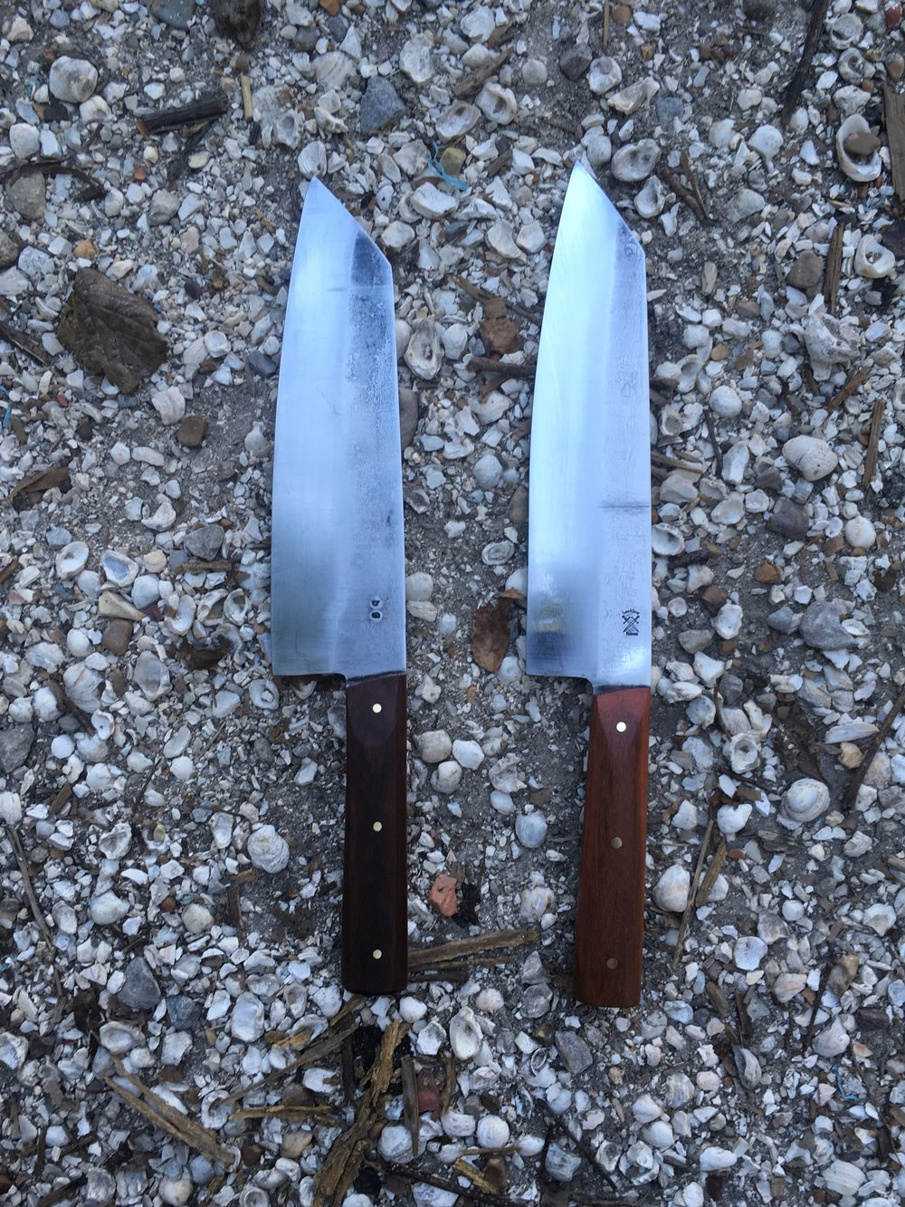 Student's knife (on left) and the knife i made for the class.