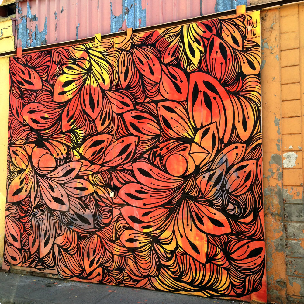 Mural painted for Project Wallflowers at Pasaje Maria Teresa, Santiago de Chile, Chile 2016