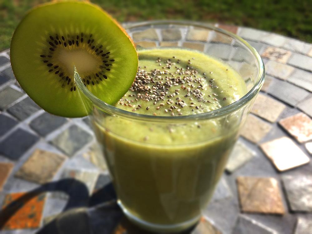 coconut water, broccoli, banana, kiwi,cucumber, chia seeds